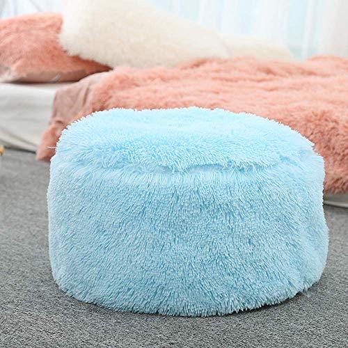 TUTU Aufblasbarer Hocker Sofa Home Decoration Tragbarer Stuhl Langer Plüsch Luftgefüllter Komfortsitz Fußschemel & Schuhe tragen Hocker Fußschemel+Kostenlose aufblasbare Pumpe (50 cmx35 cm,Himmel