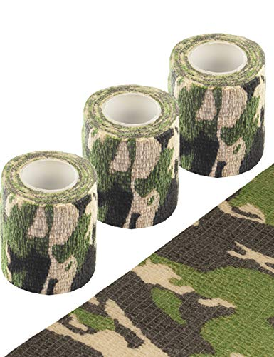 Outdoor Saxx® - 3 cintas de camuflaje, cinta de tela, resistente al agua, multiusos, cámara, equipo, cazador, pescador, fotografía, paquete de 3, longitud 4,5 m, ancho 7,5 cm.