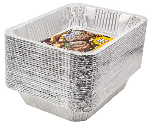 eHomeA2Z Aluminum Pans Disposable Half Size (30 Pack) 9' x 13' Prepping, Roasting, Food, Storing, Heating, Cooking, Chafers, Catering, Buffet Supplies