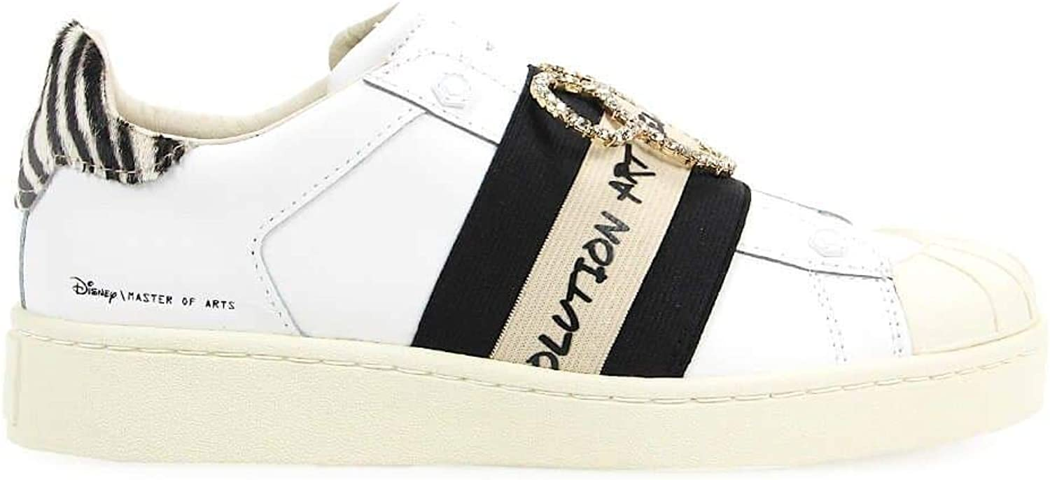 MOA Women's MD330WHITE White Leather Sneakers