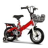 FDSAG Niños Plegable Bicicletas Peso Ligero Velocidad Única Reforzado Viajero Bicicleta Al Aire Libre Bicicleta De Montaña, con Cesta Y Asiento Trasero Rueda De Entrenamiento,12 Inch