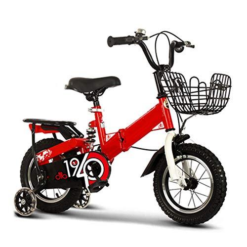 Kinder Falten Fahrräder Leicht Single Speed Verstärkt Pendler Fahrrad Draussen Mountainbike Mit Korb Und Rücksitz Abnehmbar Trainingsrad,12 inch