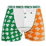 Smuggling Duds Men's Stash Boxer Brief Shorts - Pickpocket Proof Travel Secret Pocket Underwear Saint Patricks Large
