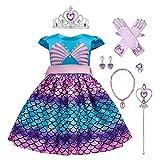 IWEMEK Disfraz de princesa de la Sirenita Ariel con accesorios para niños Cuentos de hadas Cosplay...
