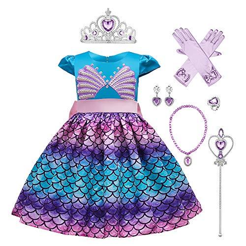 IWEMEK Disfraz de princesa de la Sirenita Ariel con accesorios para niños Cuentos de hadas Cosplay disfraces de Halloween disfraces de carnaval de 3 a 12 años