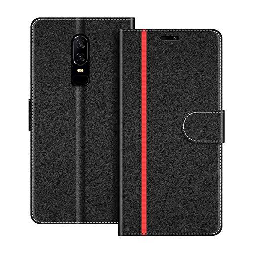 COODIO Handyhülle für OnePlus 6 Handy Hülle, OnePlus 6 Hülle Leder Handytasche für OnePlus 6 Klapphülle Tasche, Schwarz/Rot