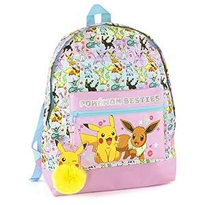 51H 9tZQMzL. SS300  - Mochila Escolar del brillo del rosa de Pokemon Pikachu Eevee Besties de chica