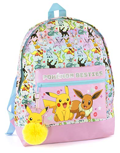 Pokemon Pikachu Pom Pom Keyring Eevee Besties Girls Pink Glitter School Backpack