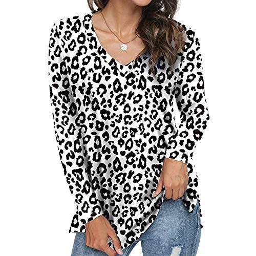 YANFANG Camisa de Manga Larga Suelta con Cuello en V de Moda para Mujer,Estilo Casual y Suelto Camisetas, Tops, Blusas,t-Shirt,, L,White