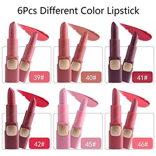 Rouge À Lèvres Mat 6Pcs Set 6 Couleurs Facile À Colorer Imperméable Et Hydratante Cosmétiques Cadeaux Pour Femmes,A2,6Pcs