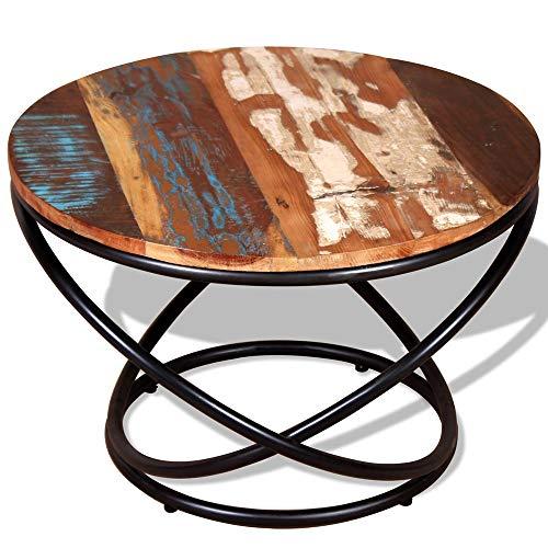 Desks DD industriële koffietafel, zijbank, eindmeubilair, rustieke ronde massief hout, retro metaal, woonkamer, houten kleine thee, gerecycleerde antieke shabby, chique Urban stijl been, werkbank