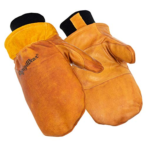 RefrigiWear Water-Repellent Latex Dipped Insulated Cowhide Leather Mittens (Gold, X-Large)