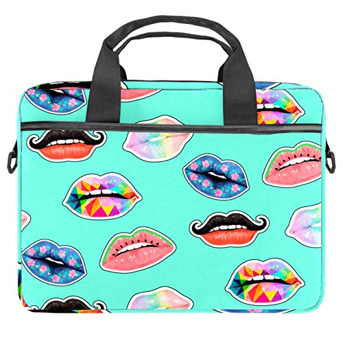 13.4'-14.5' Laptop Case Notebook Cover Business Daily Use or Travel Watercolor Colorful Sexy Lips Pattern