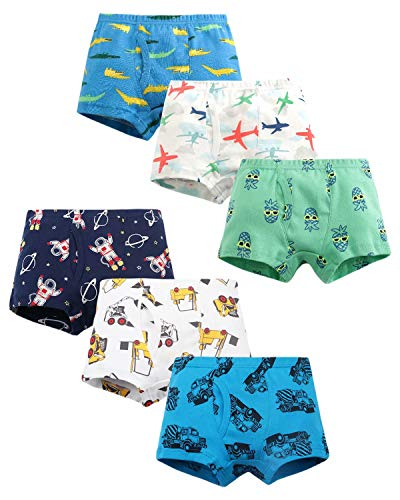 ARTMINE Little Boys Cotton Dinosaurs 6Pack Boxer Briefs Multipack Underwear, Pack-6, 3T Toddler = Tag 100