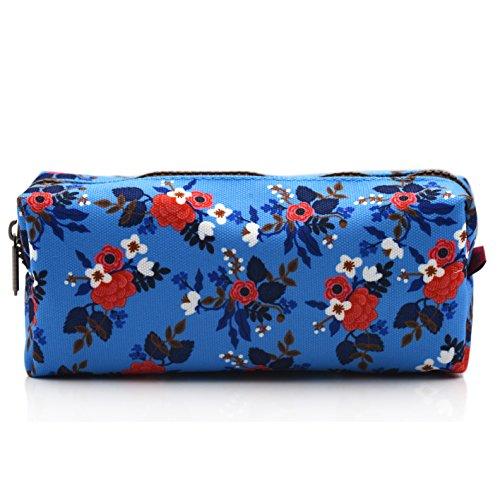 Birch Floral Canvas Pencil Case Pen Bag Pouch Stationary Case Makeup Cosmetic Bag (Blue)