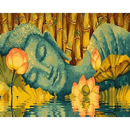 Buda imágenes lienzo arte pintura diy pintura al óleo por números pintura por números conjunto decoración de pared siete artes de pared A10 60x80cm