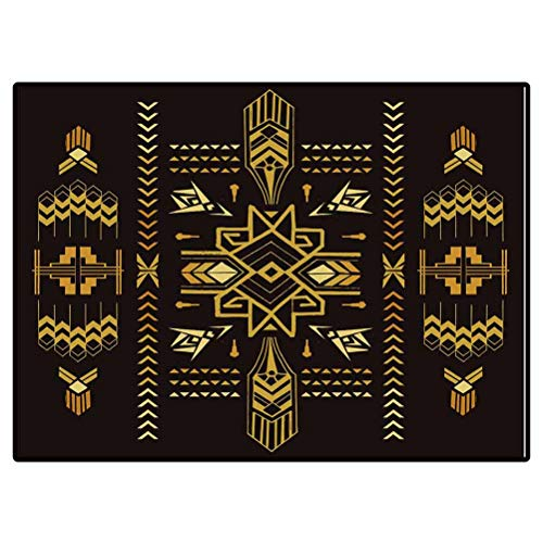 Christmas Bathroom Rugs Patio Rugs Tribal Vintage Aztec Background Hand Drawn in Vector Carpet Living Room Deco Rectangle Mat 6.6 X 10 Ft