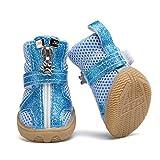 AMURAO Bling Bright PU Zapatos para Perros pequeños Malla Transpirable Cremallera Botas para Mascotas Verano Sandalias para Perros para Peluche
