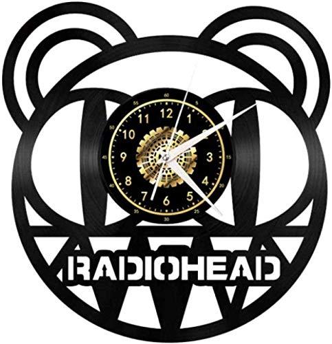 GVSPMOND Reloj de Pared Cabeza de Oso Disco de Vinilo Reloj de Pared Tema Animal Creativo Retro Reloj de Pared de Vinilo decoración de la Sala de Estar