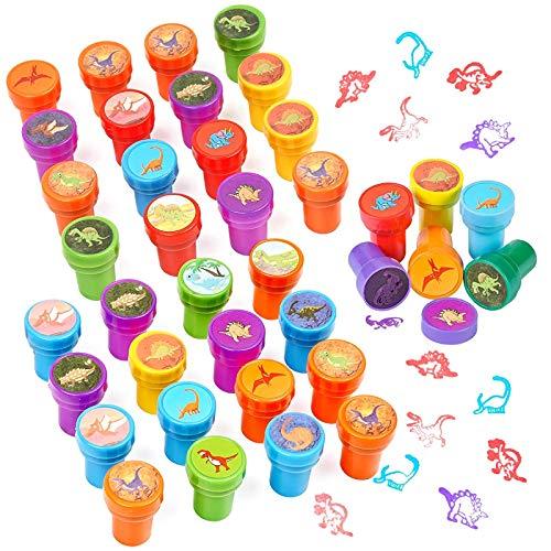 32 Kinderstempel Set - Runde Dinosaurier Kind Stempel - Dinosaurier-Designs, ideales Innenspielzeug für Kinder Für Bastelaktivitäten Und Kunsthandwerk Und Drucken Und Stempeln