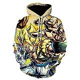 RENEO Sudadera Impresión Pullover Largas Sweatshirt,Dragon Ball Goku 3D Printing Sudadera con Capuch...