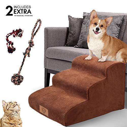 MASTERTOP Haustiertreppe für Hunde und Katzen mit, III Hundetreppe für Hunde und Katzen für hohe Betten, leichte Haustierleiter, tragbar, abnehmbar, waschbar