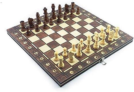 Color : 24 x 24cm WYHM /Échecs Super Checkers magn/étique Chess Backgammon en Bois 3 en 1 Jeu d/échecs Ancient Echecs Echecs Voyage Pi/èce d/échecs en Bois /Échiquier Jeux Occasionnels