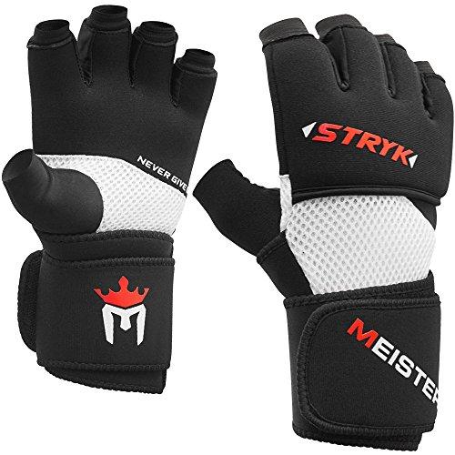 Meister Inner STRYK Gloves w/EliteGel for Boxing & MMA - Replace Hand Wraps or Striking Training - Black - Medium/Large