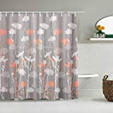 SSZO Cortina de Ducha Impermeable,Daizy Flores Florales Hermoso Fondo,Cortinas de baño de poliéster de diseño 3D con 12 Ganchos,tamaño 180 x 180cm
