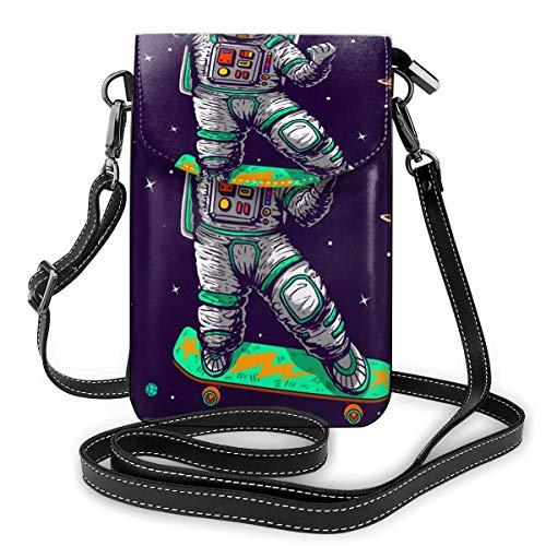 Cool Astronaut Skating In Space Like A Boss Slogan Cartoon Comics Style Kleine Crossbody-Tasche Crossbody Handy Geldbörse – Damen PU Leder Handtasche mit verstellbarem Riemen für den Alltag