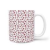 CCMugshop Divertida taza de café de cerámica con corazones rojos, sin costuras, amor fantasía, color blanco, 330 ml