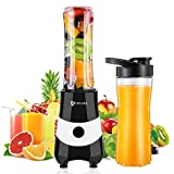 Mini Blender Smoothie Maker with 2 Tritan Bottles BPA-Free, Personal Portable Blender for Smoothies and Shakes, Small...