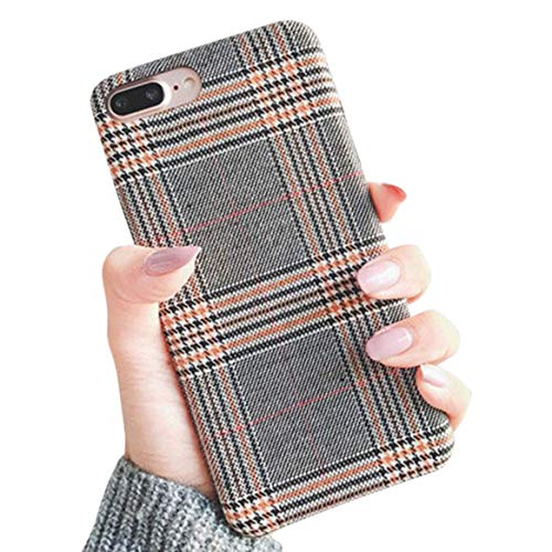 for iPhone 7 Plus 5.5' for iPhone 8 Plus 5.5' NAMA Soft Cloth Grid Fabric Pattern Stripes Vintage Plaid Retro Grey Gray Cover Case