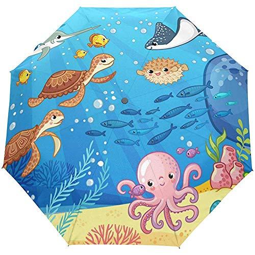 Ocean Sea Fish Turtle Tortoise Blue Auto Open Umbrella Zonneregenparaplu Automatische paraplu compact opvouwbaar UV-bescherming