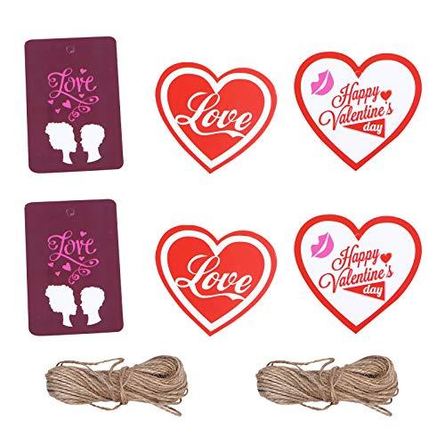 TENDYCOCO 3 Taschen 150 Stück hängende Geschenketiketten Valentinstag Geschenkanhänger Herz Lesezeichen