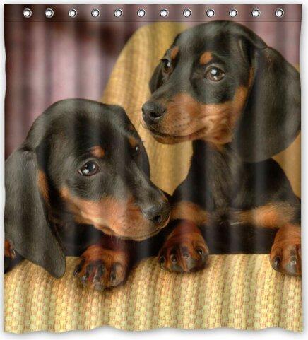 CHATAE Cute Love Baby Dackel Hund Duschvorhang 167,6cm (W) X 182,9cm (H) Generic Duschvorhang Müllbeutel