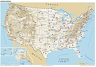 13x19 Anchor Maps United States General Reference Wall Map Poster - USA Foundational Series - Capitals, Cities, Roads, Phy...