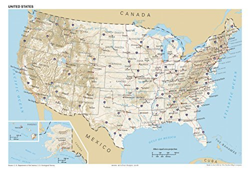 13 x 19 Anchor Maps United States General Reference Wall Map poster – usa Foundational Series – Capitals, Cities, Roads, Physical features, and Topography [Rolled] by Anchor Maps