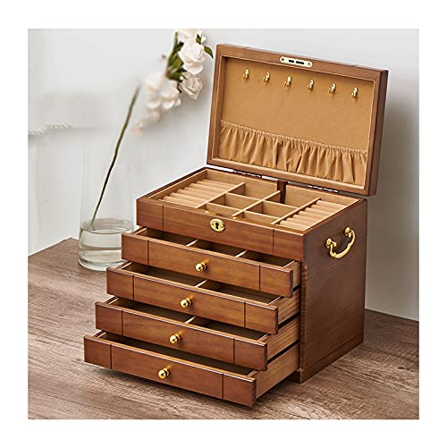 hkwshop Caja de Joyas Jewelry Boxes Organizer para Mujer Vintage Jewelry Case con cajones y Gran Organizador de joyería de Madera para Collares, Pendientes, Relojes Caja de Joyería (Size : Large)
