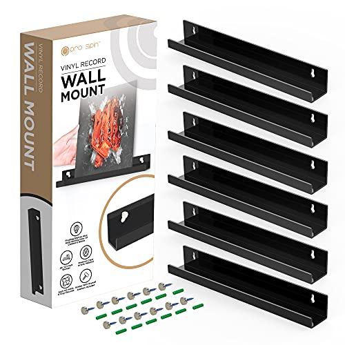 PRO SPIN Estante de pared para discos de vinilo – Soporte acrílico negro para mostrar 6 discos – Juego de soportes para colgar en...