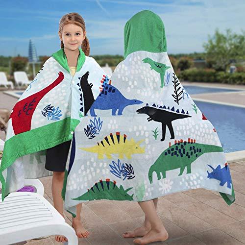 YISUN Toalla con Capucha para Niños de Algodón, Natación, Toalla Suave para Niños de Vacaciones de Playa, Toalla para Niña Ligera para Niños (Patrón de Dinosaurio)