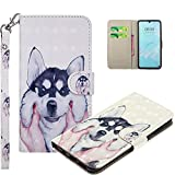 COTDINFOR pour Samsung Galaxy Note 9 Custodia Cover TPU 3D Effect Painted PU in Pelle con Wallet Card Holder Magnetico Ultrasottile Antiurto Flip Custodia per Samsung Galaxy Note 9 Pet Husky RX.