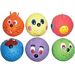 "Good Boy Face Design Squeaky Soft Dog Toy Great fun for you and your dog Size approx 6cm (2.5"") diameter Available in Red, Orange or Yellow One colour will be selected at random. If you have a colour preference please email at time of order"