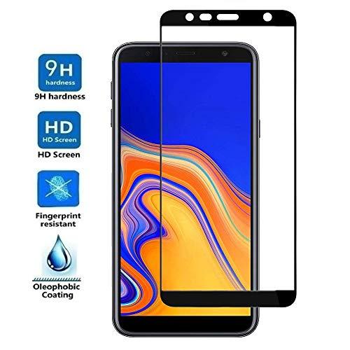 REY - Protector de Pantalla Curvo para Samsung Galaxy J4 Plus 2018 / J6 Plus 2018 / J4 Core, Negro, Cristal Vidrio Templado Premium, 3D / 4D / 5D