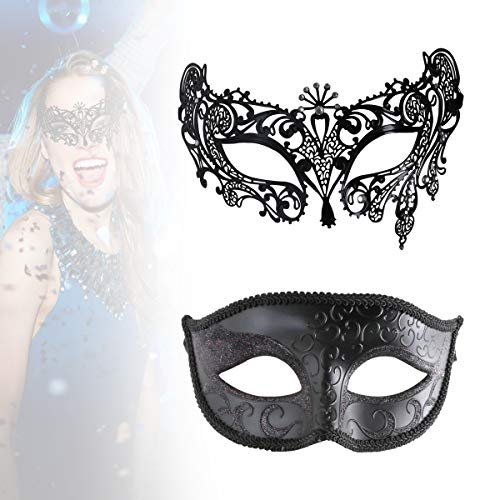 Supmaker Couples Masquerade Masks, His & Hers Masquerade Masks,Masquerade Ball Mask, Mardi Gras Masks, 2 Pack (black)