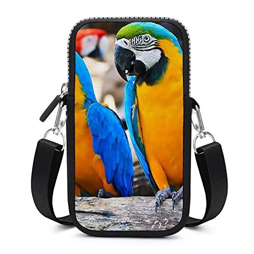 Bolso de teléfono móvil Crossbody con correa de hombro extraíble hermosas guacamayos resistente al desgaste caso de la bolsa para el brazalete del teléfono cartera al aire libre Bolsas mujeres