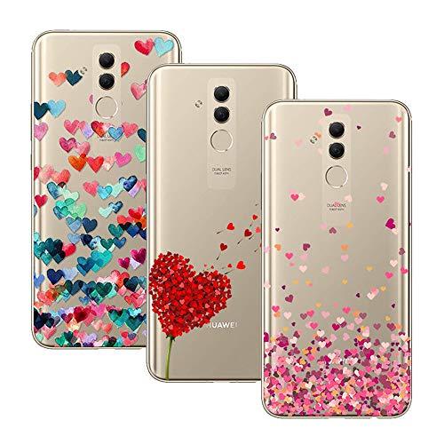 Young & Ming Huawei Mate 20 Lite Cover, [3 Pack] Trasparente La Protezione Superiore Leggero Sottile Silicone Premium TPU Case, Color 1