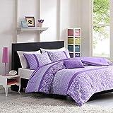 Mi Zone Riley Comforter Set Full/Queen Size - Purple , Floral – 4 Piece Bed Sets – Ultra Soft Microfiber Teen Bedding For Girls Bedroom