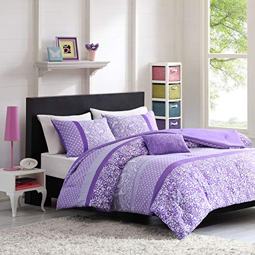Mi Zone Riley Comforter Set Twin/Twin Xl Size - Purple , Floral – 3 Piece Bed Sets – Ultra Soft Microfiber Teen Bedding For Girls Bedroom