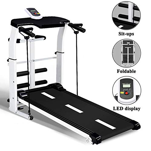 Treadmill, Folding Mechanical Treadmill,Jogging Walking Running Exercise Machine, Portable Cardio Fitness Exercise Incline Home Running Machine,White,115 * 28 * 50 cm